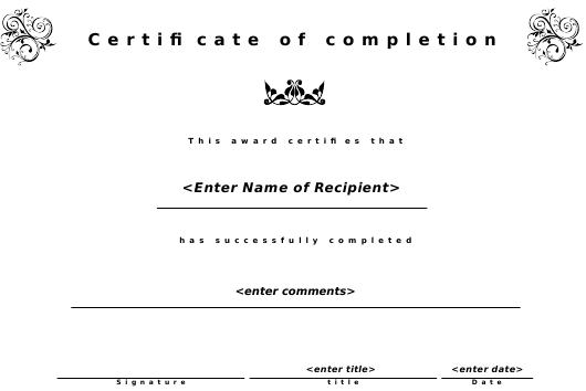 """""""Certificate of Completion Template"""" Download Pdf"""
