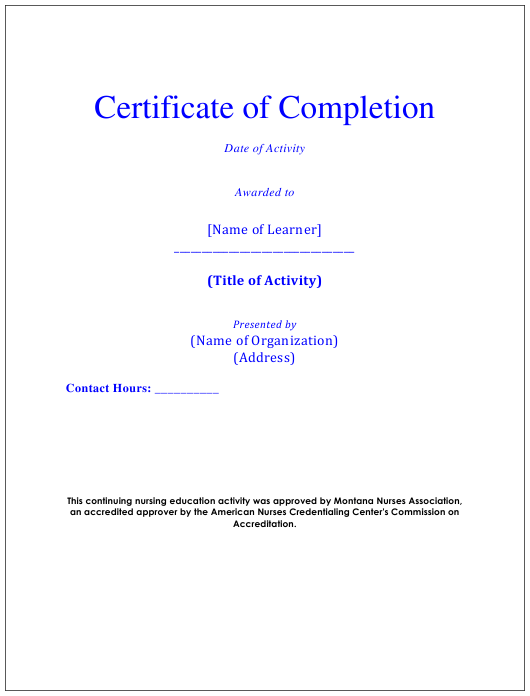 """Certificate of Completion Template - Montana Nurses Association"" Download Pdf"