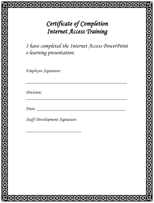 """""""Internet Access Training Certificate of Completion Template"""" Download Pdf"""