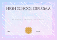 """Blue High School Diploma Certificate Template"""