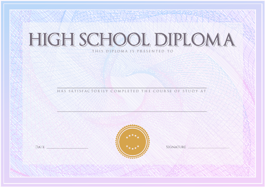 """Blue High School Diploma Certificate Template"" Download Pdf"