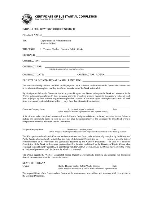 State Form 1084 Printable Pdf