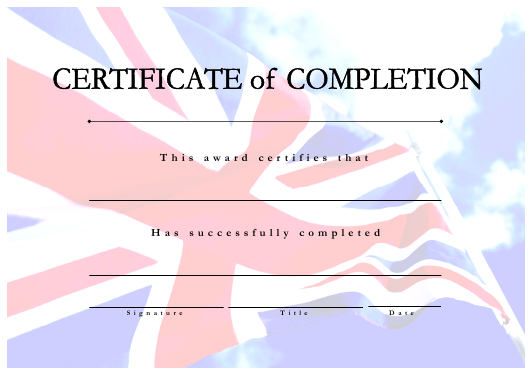 """Certificate of Completion Template"" Download Pdf"