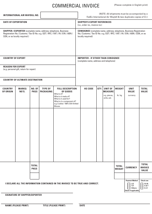 Export Commercial Invoice Template