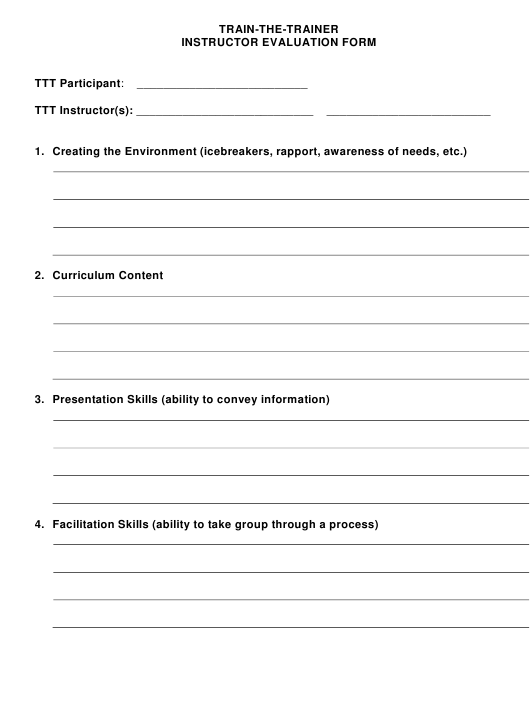 """""""Instructor Evaluation Form - Train-The-Trainer"""" Download Pdf"""