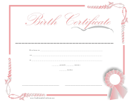 Birth Certificate Template - Pink Frame