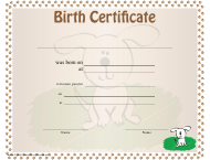 """Dog Birth Certificate Template"""