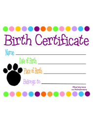 Animal Birth Certificate Template