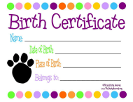 """Animal Birth Certificate Template"""