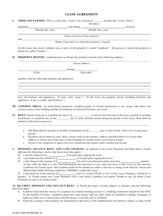 """Lease Agreement Template"" Download Pdf"