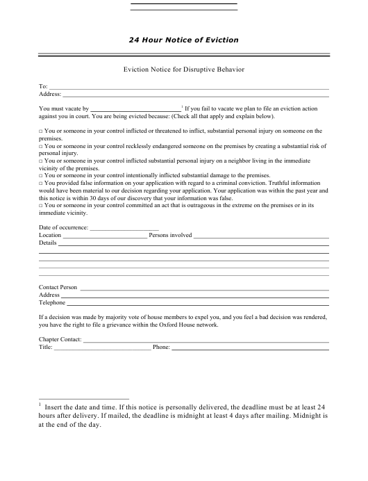 24 Hour Notice of Eviction Template Download Pdf