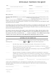 """""""Five-Day Notice to Quit Form"""" - Las Vegas Township, Nevada"""