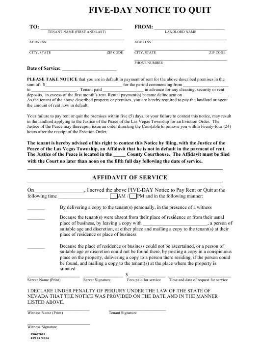 """""""Five-Day Notice to Quit Form"""" - Las Vegas Township, Nevada Download Pdf"""