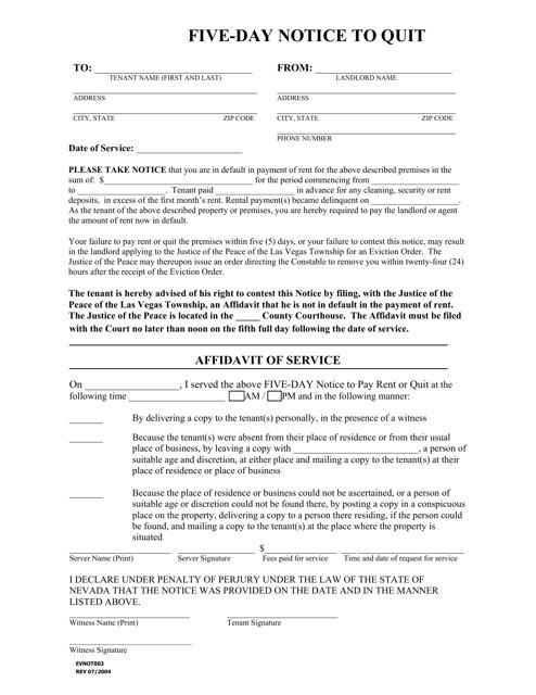Form EVNOT 003  Fillable Pdf