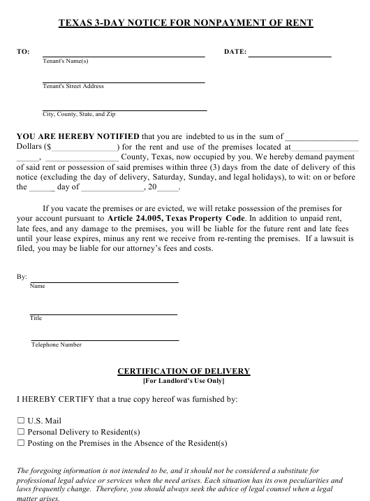 Texas 3-day Notice for Nonpayment of Rent Form - Texas Download Pdf