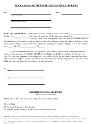 """""""Texas 3-day Notice for Nonpayment of Rent Form"""" - Texas"""