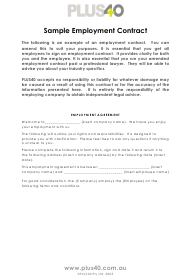 """employment Contract Template - Plus40"""