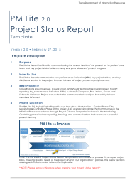 """Project Status Report Form"" - Texas"