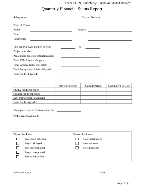 quarterly financial status report template download printable pdf