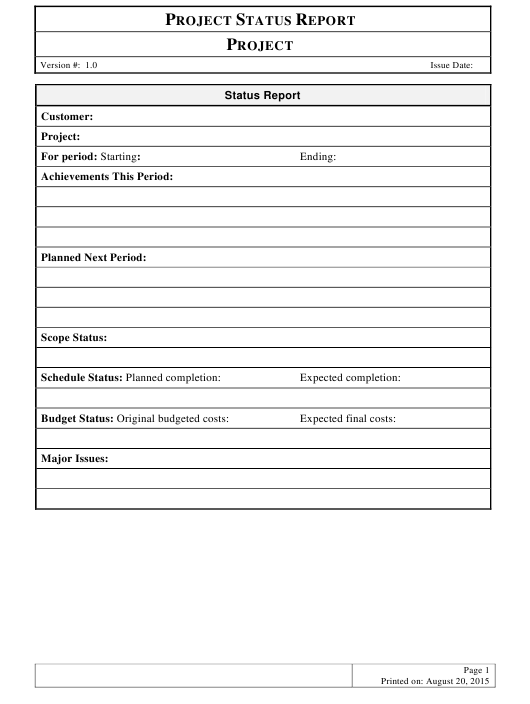 """Project Status Report Template"" Download Pdf"