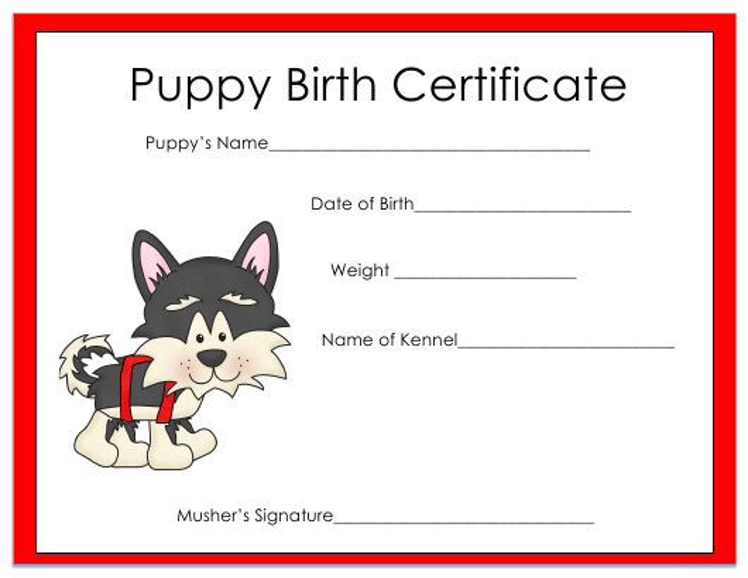 """Puppy Birth Certificate Template"" Download Pdf"
