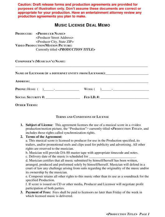 """Music License Deal Memo Template"" Download Pdf"