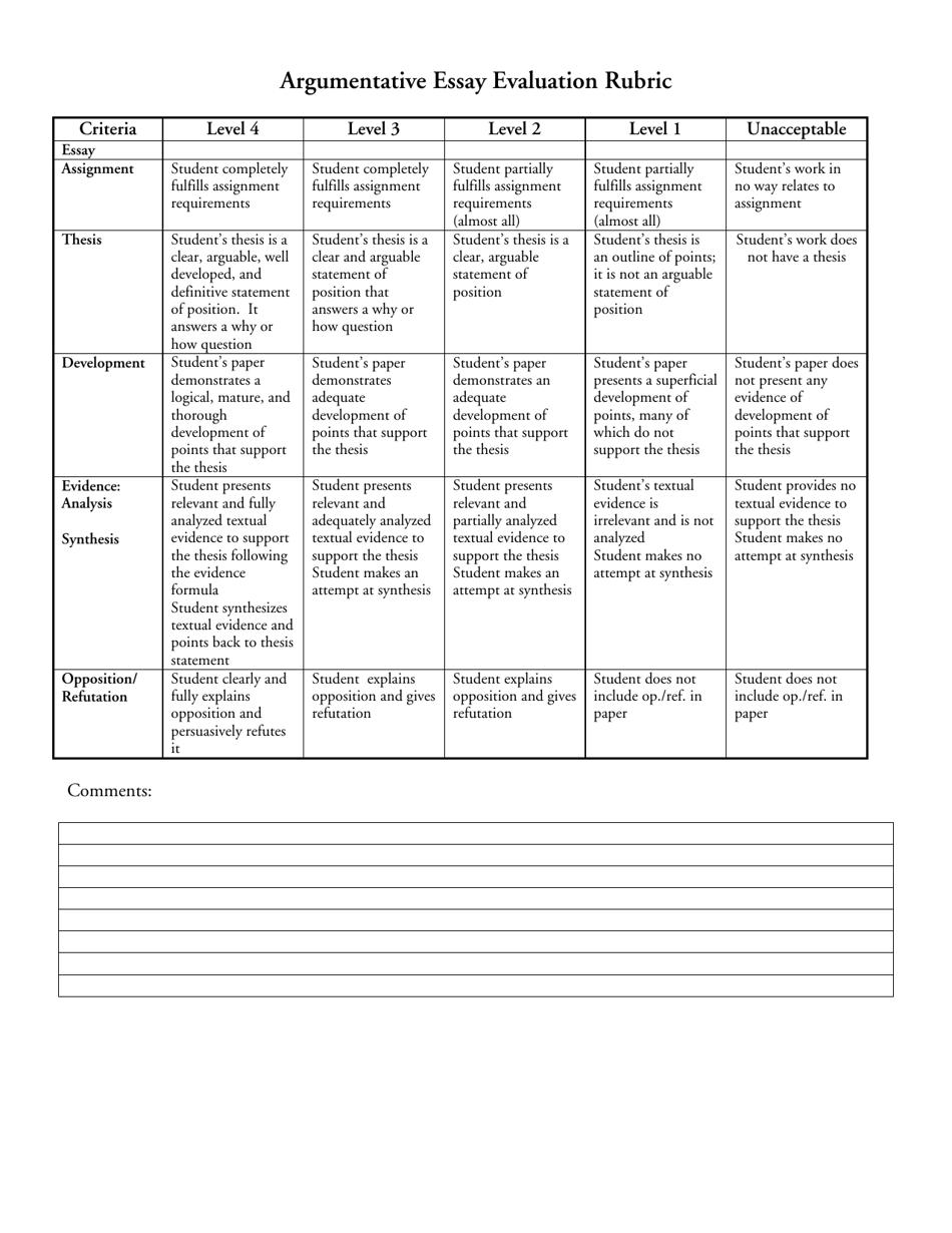 Argumentative Essay Evaluation Rubric Template Download Printable With Regard To Brochure Rubric Template