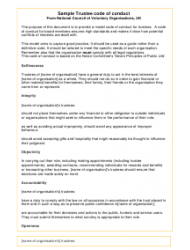 Sample Trustee Code Of Conduct Template - United Kingdom