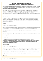 """Sample Trustee Code of Conduct Template"" - United Kingdom"