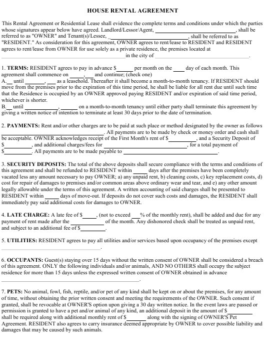 House Rental Agreement Template Download Fillable Pdf