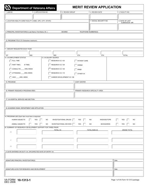 VA Form 10-1313-1 Fillable Pdf