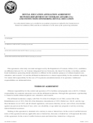 VA Form 10-0094f Dental Education Affiliation Agreement Between Department of Veterans Affairs (VA) and Institutions Sponsoring Dental Education