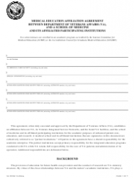 VA Form 10-0094a Medical Education Affiliation Agreement Between Department of Veterans Affairs (VA), and a School of Medicine and Its Affiliated Participating Institutions