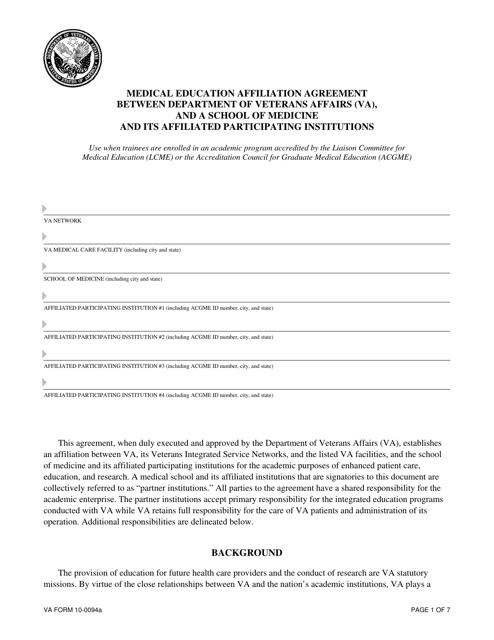 VA Form 10-0094a Fillable Pdf