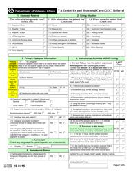 VA Form 10-0415 Geriatrics and Extended Care Referral