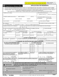 VA Form 10-2850b Application for Residents
