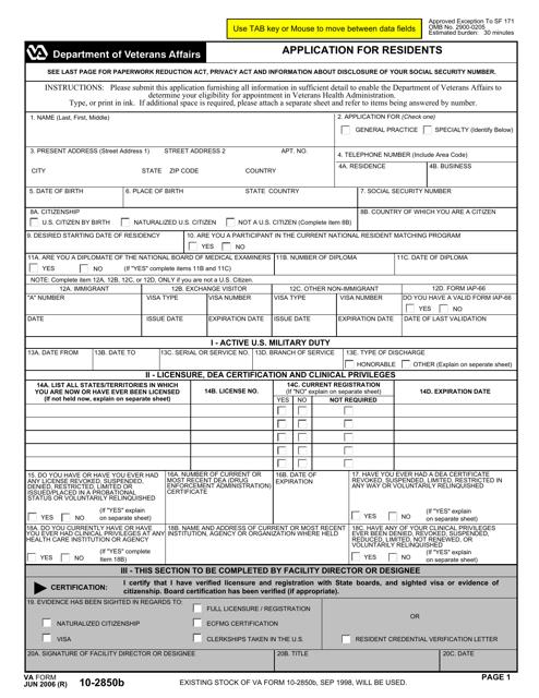 VA Form 10-2850b Fillable Pdf