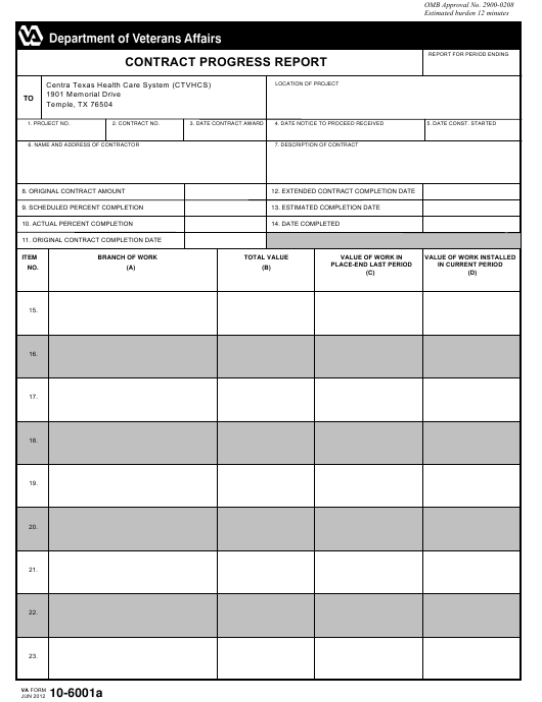 VA Form 10-6001a Printable Pdf