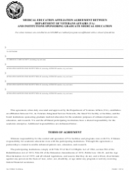 VA Form 10-0094c Medical Education Affiliation Agreement Between Department of Veterans Affairs (VA) and Institutions Sponsoring Graduate Medical Education