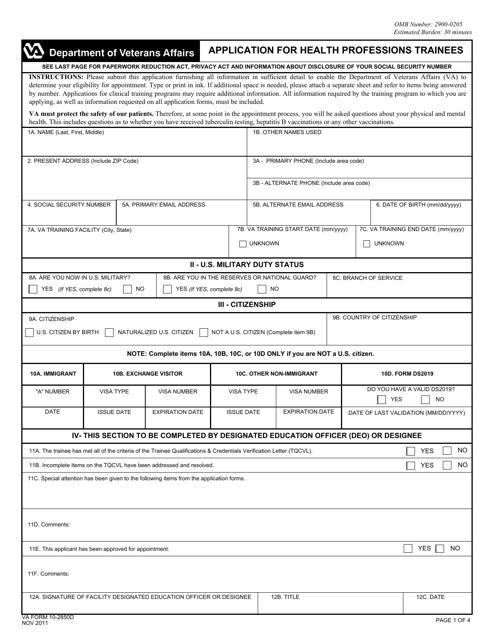 VA Form 10-2850d  Printable Pdf