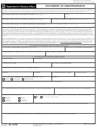 VA Form 21-1775 Statement Of Disappearance