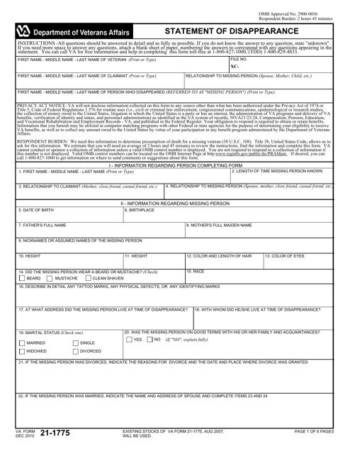 VA Form 21-1775 Printable Pdf