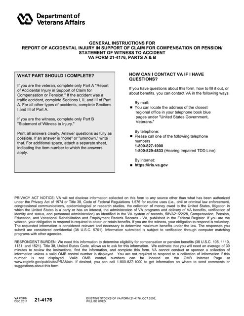 VA Form 21-4176 Fillable Pdf