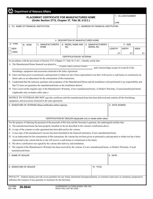 VA Form 26-8644 Fillable Pdf