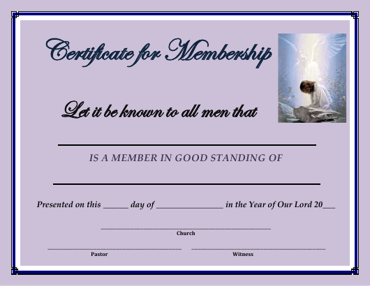 """Membership Certificate Template"" Download Pdf"