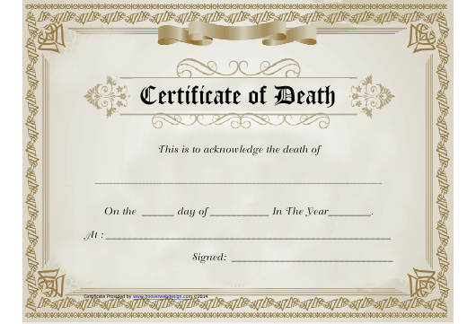 """""""Brown Certificate of Death Template"""" Download Pdf"""