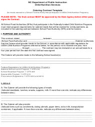 """""""Catering Contract Template"""" - North Carolina"""