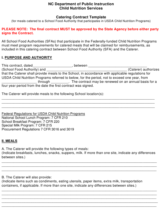 """""""Catering Contract Template"""" - North Carolina Download Pdf"""