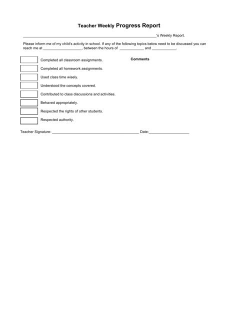 """Teacher Weekly Progress Report Template"" Download Pdf"