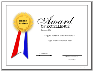 """Award of Excellence Template"""